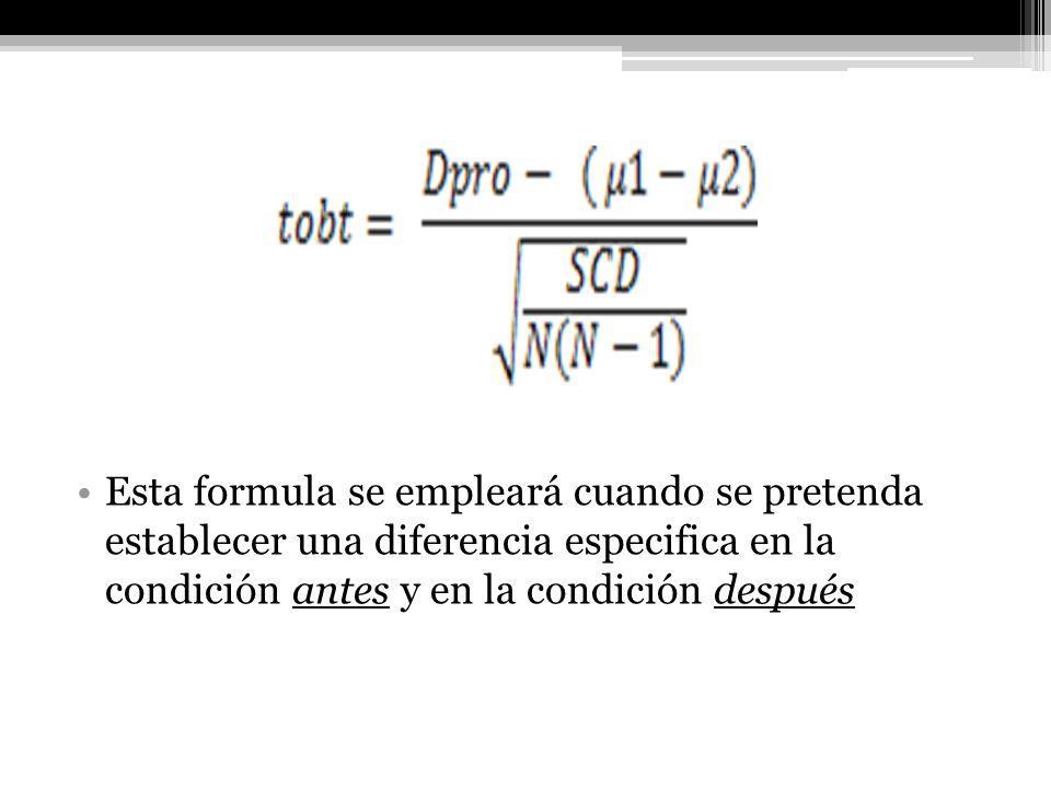 Esta formula se empleará cuando se pretenda establecer una diferencia especifica en la condición antes y en la condición después