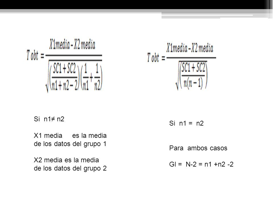 Si n1≠ n2 X1 media es la media de los datos del grupo 1. X2 media es la media de los datos del grupo 2.