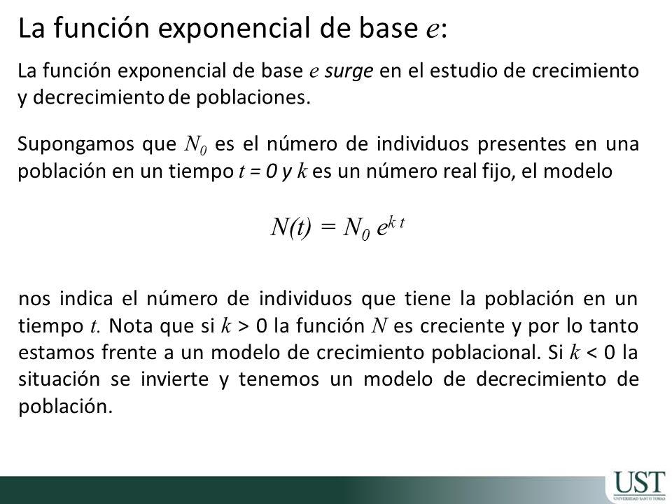 La función exponencial de base e: