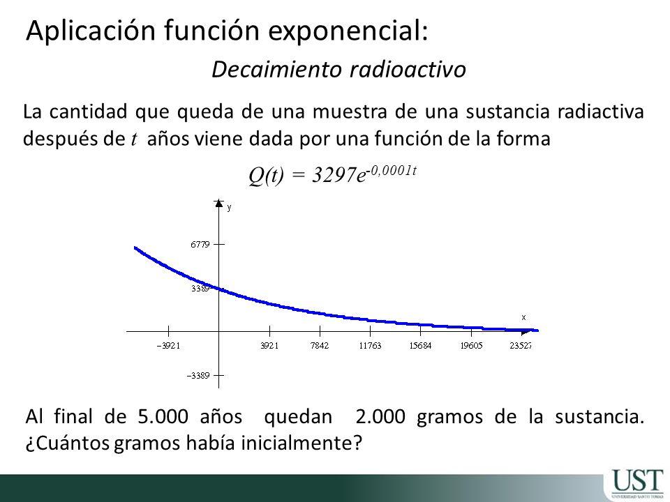 Aplicación función exponencial: