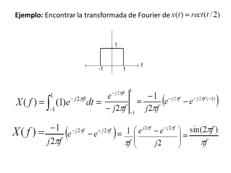 Ejemplo: Encontrar la transformada de Fourier de la señal