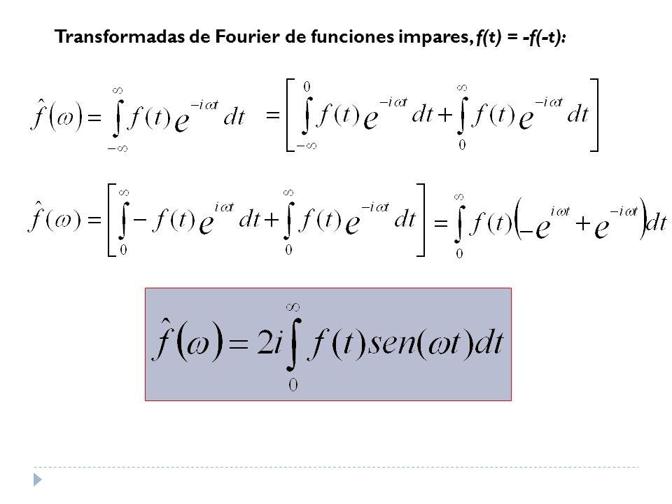 Transformadas de Fourier de funciones impares, f(t) = -f(-t):