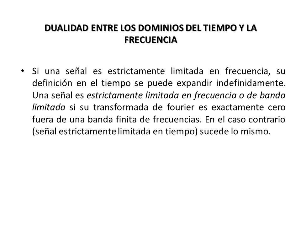 DUALIDAD ENTRE LOS DOMINIOS DEL TIEMPO Y LA FRECUENCIA