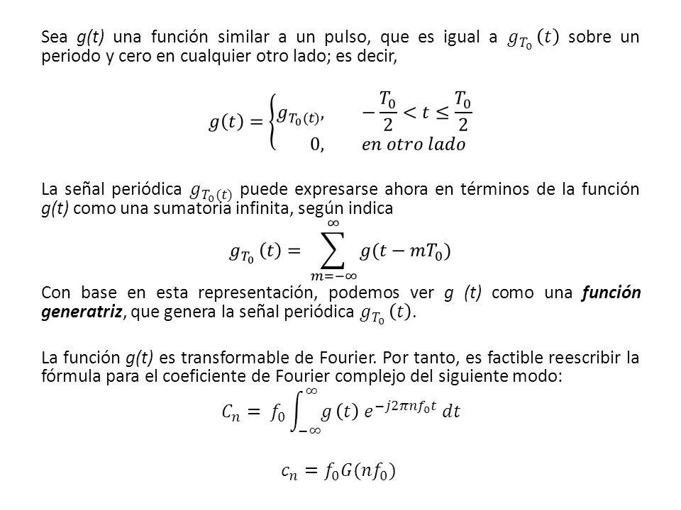 Sea g(t) una función similar a un pulso, que es igual a 𝑔 𝑇 0 𝑡 sobre un periodo y cero en cualquier otro lado; es decir,