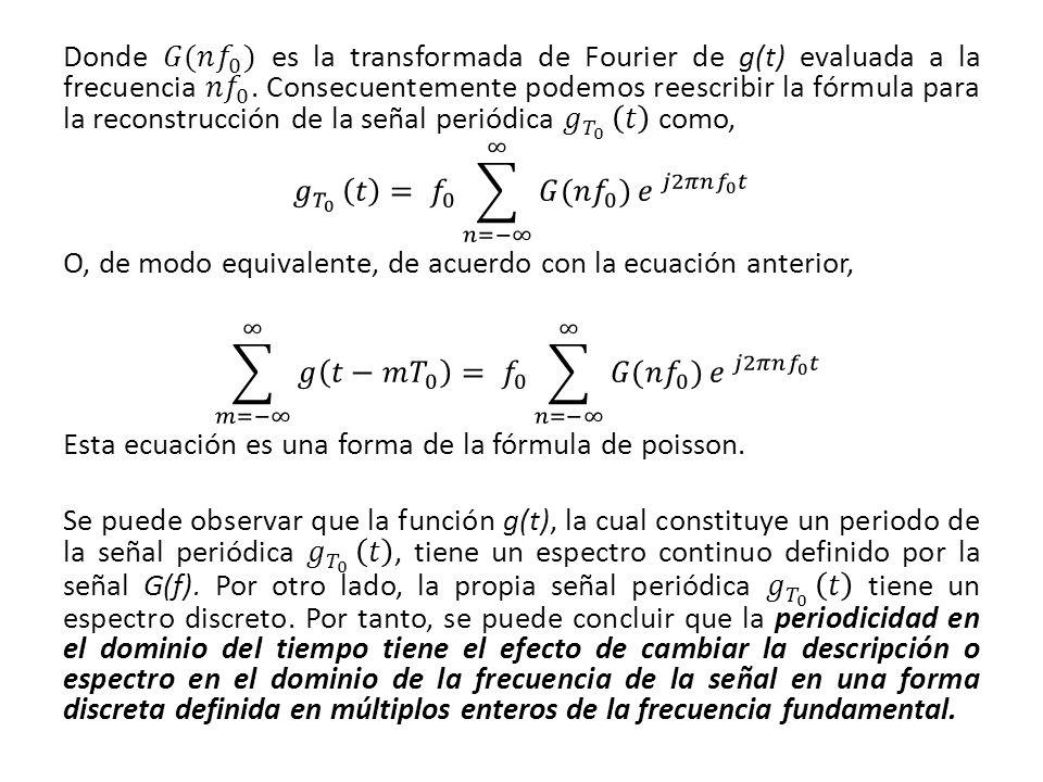 Donde 𝐺(𝑛 𝑓 0 ) es la transformada de Fourier de g(t) evaluada a la frecuencia 𝑛 𝑓 0 .