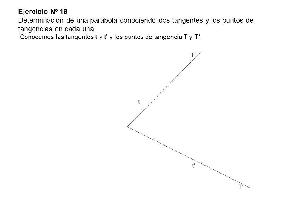 Ejercicio Nº 19 Determinación de una parábola conociendo dos tangentes y los puntos de tangencias en cada una .