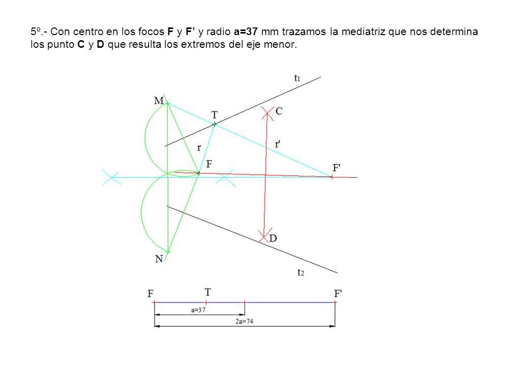 5º.- Con centro en los focos F y F' y radio a=37 mm trazamos la mediatriz que nos determina los punto C y D que resulta los extremos del eje menor.