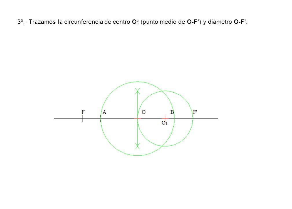 3º.- Trazamos la circunferencia de centro O1 (punto medio de O-F') y diámetro O-F'.