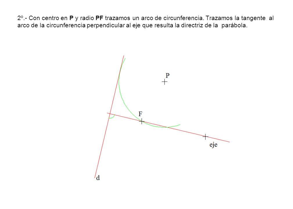 2º. - Con centro en P y radio PF trazamos un arco de circunferencia