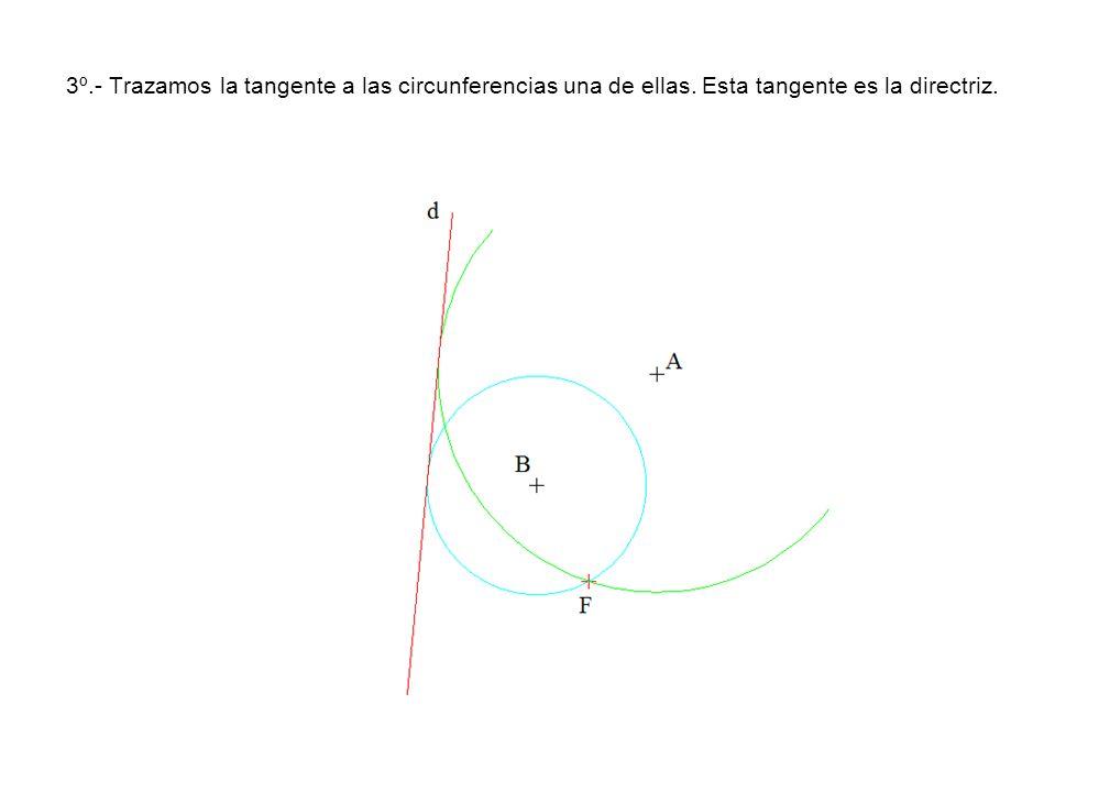 3º. - Trazamos la tangente a las circunferencias una de ellas
