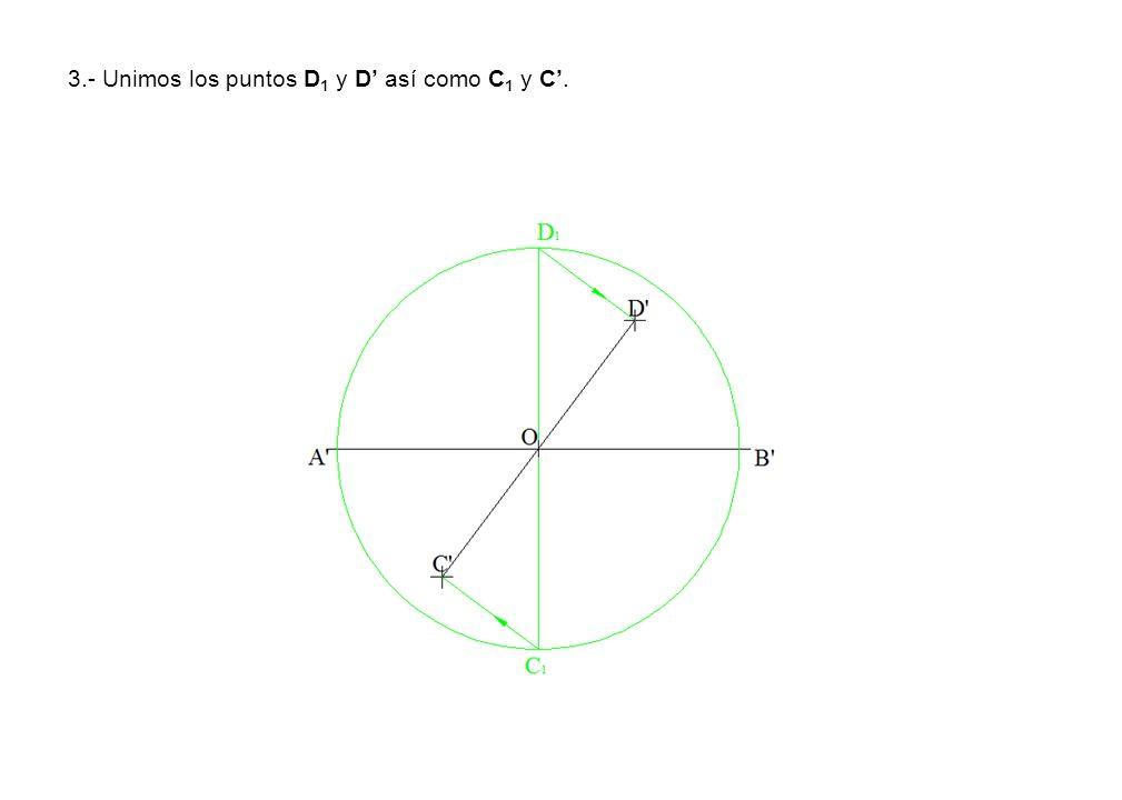 3.- Unimos los puntos D1 y D' así como C1 y C'.