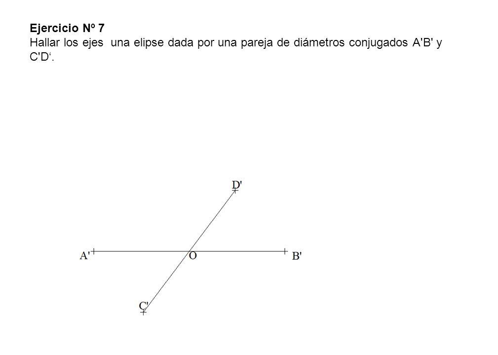 Ejercicio Nº 7 Hallar los ejes una elipse dada por una pareja de diámetros conjugados A B y C D'.
