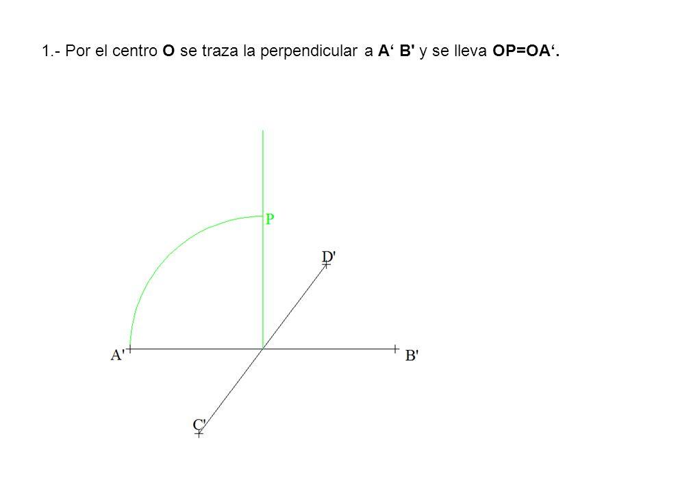 1.- Por el centro O se traza la perpendicular a A' B y se lleva OP=OA'.