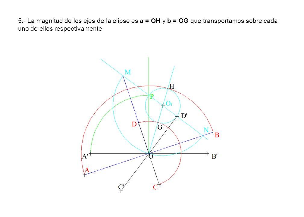 5.- La magnitud de los ejes de la elipse es a = OH y b = OG que transportamos sobre cada uno de ellos respectivamente