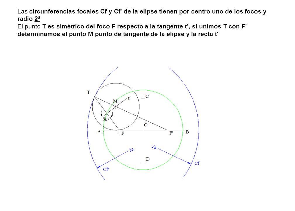 Las circunferencias focales Cf y Cf de la elipse tienen por centro uno de los focos y radio 2ª El punto T es simétrico del foco F respecto a la tangente t', si unimos T con F determinamos el punto M punto de tangente de la elipse y la recta t