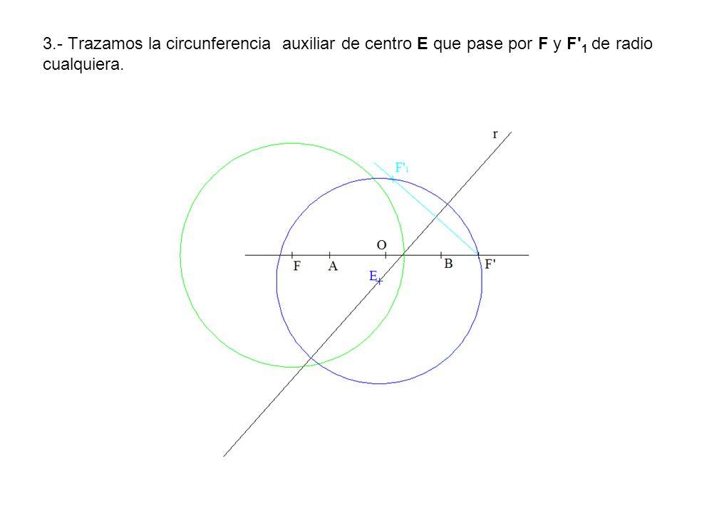 3.- Trazamos la circunferencia auxiliar de centro E que pase por F y F 1 de radio cualquiera.