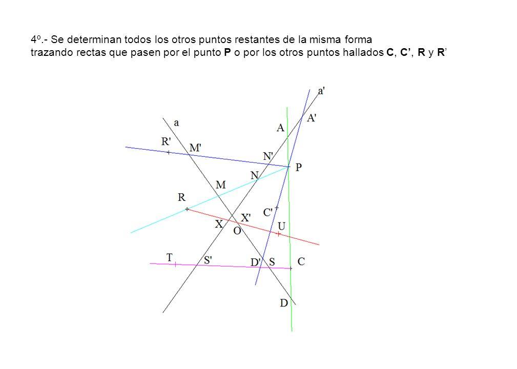 4º.- Se determinan todos los otros puntos restantes de la misma forma trazando rectas que pasen por el punto P o por los otros puntos hallados C, C', R y R'