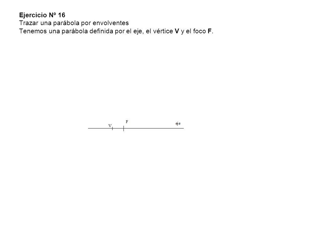 Ejercicio Nº 16 Trazar una parábola por envolventes Tenemos una parábola definida por el eje, el vértice V y el foco F.
