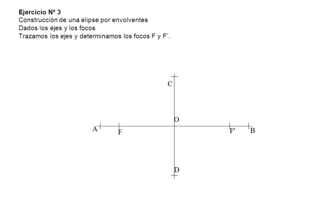 Ejercicio Nº 3 Construcción de una elipse por envolventes Dados los ejes y los focos Trazamos los ejes y determinamos los focos F y F'.