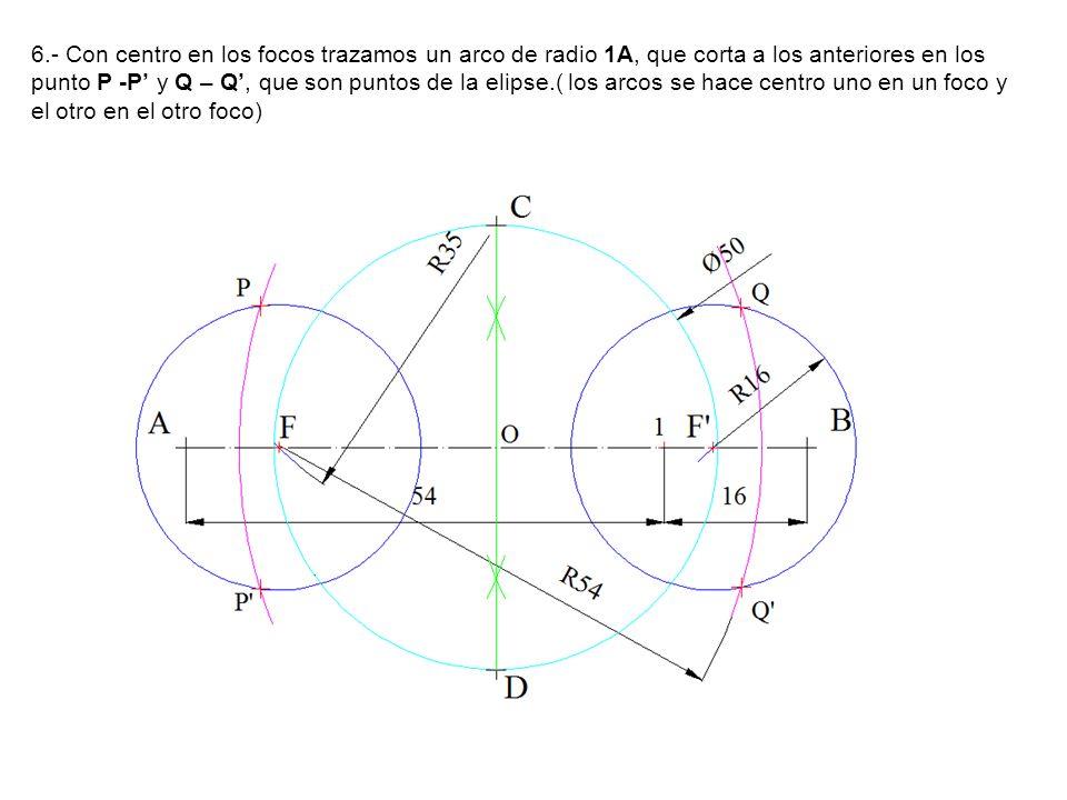 6.- Con centro en los focos trazamos un arco de radio 1A, que corta a los anteriores en los punto P -P' y Q – Q', que son puntos de la elipse.( los arcos se hace centro uno en un foco y el otro en el otro foco)