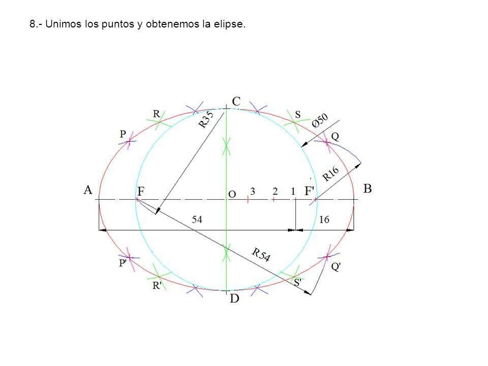 8.- Unimos los puntos y obtenemos la elipse.