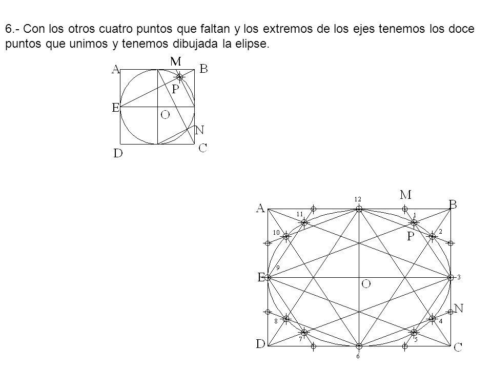 6.- Con los otros cuatro puntos que faltan y los extremos de los ejes tenemos los doce puntos que unimos y tenemos dibujada la elipse.