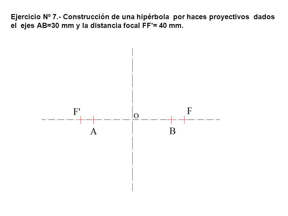 Ejercicio Nº 7.- Construcción de una hipérbola por haces proyectivos dados el ejes AB=30 mm y la distancia focal FF = 40 mm.