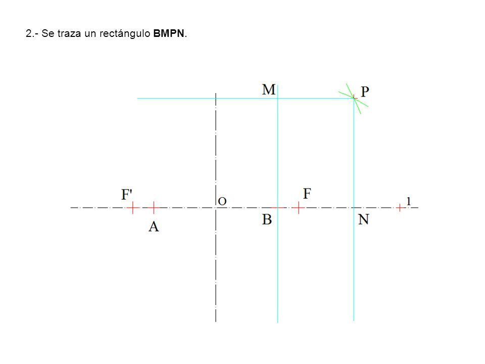 2.- Se traza un rectángulo BMPN.