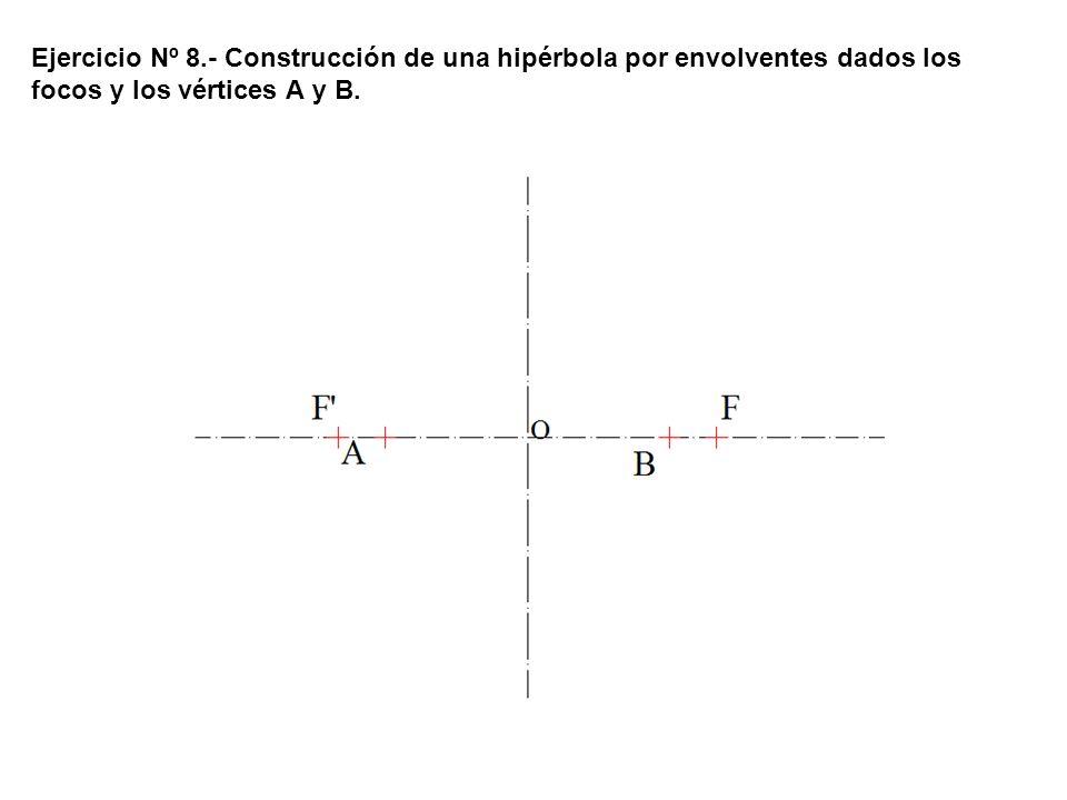 Ejercicio Nº 8.- Construcción de una hipérbola por envolventes dados los focos y los vértices A y B.