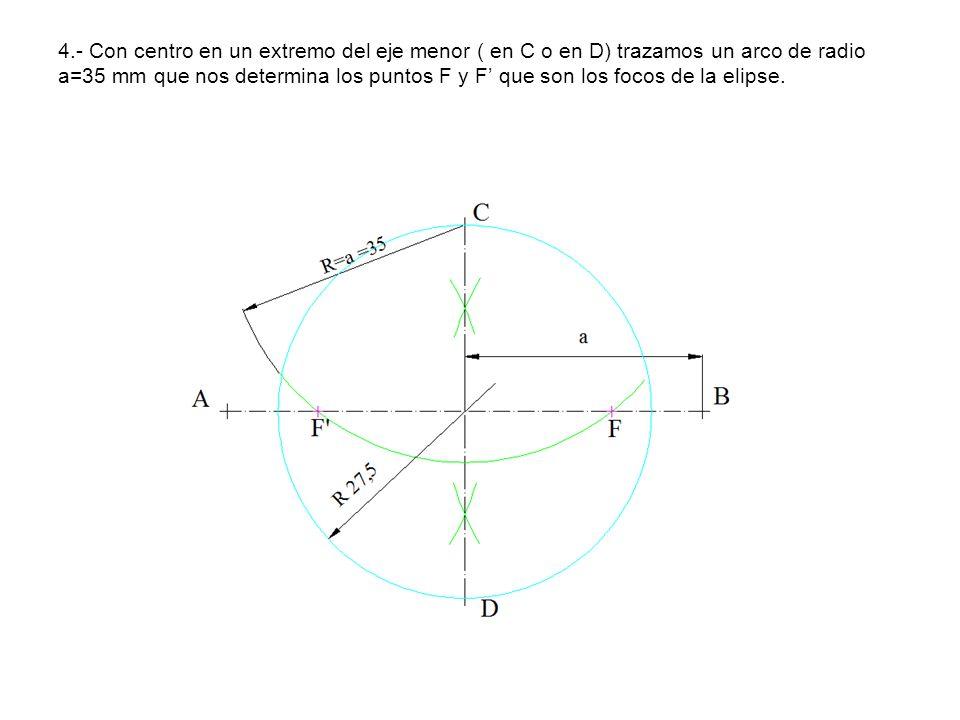 4.- Con centro en un extremo del eje menor ( en C o en D) trazamos un arco de radio a=35 mm que nos determina los puntos F y F' que son los focos de la elipse.
