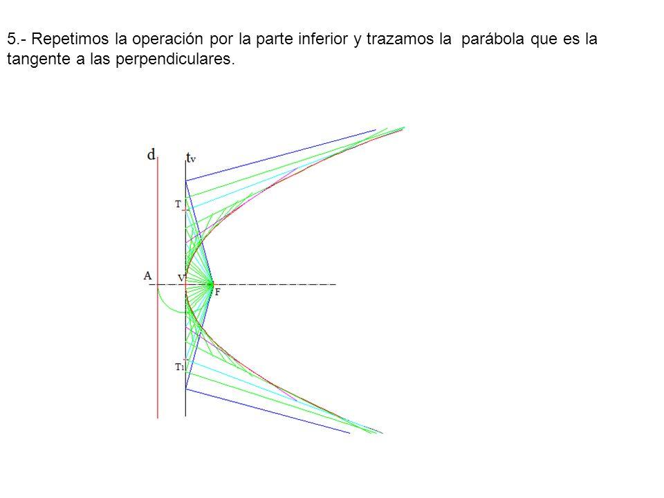 5.- Repetimos la operación por la parte inferior y trazamos la parábola que es la tangente a las perpendiculares.