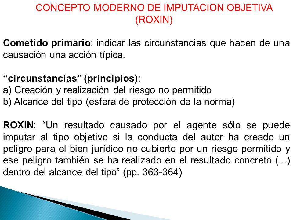 CONCEPTO MODERNO DE IMPUTACION OBJETIVA (ROXIN)