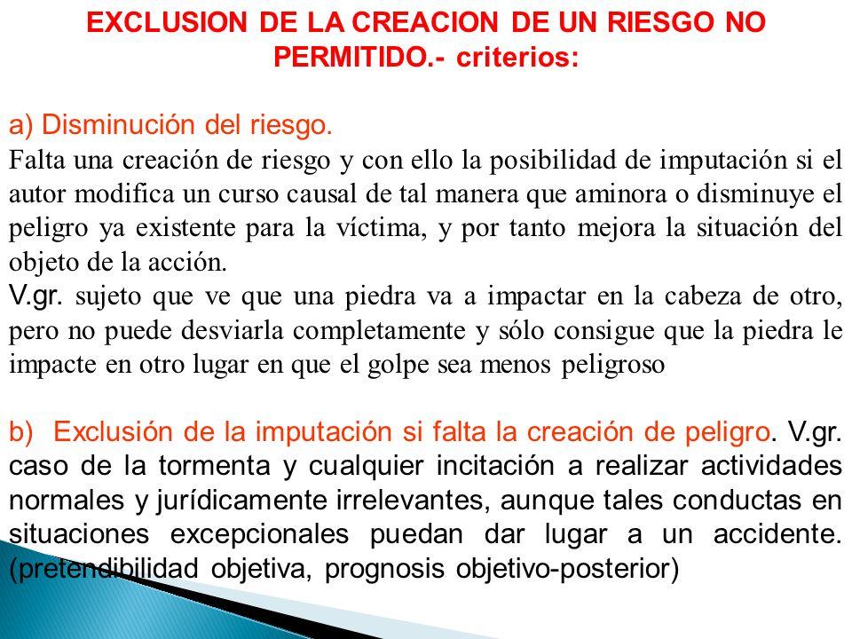 EXCLUSION DE LA CREACION DE UN RIESGO NO PERMITIDO.- criterios: