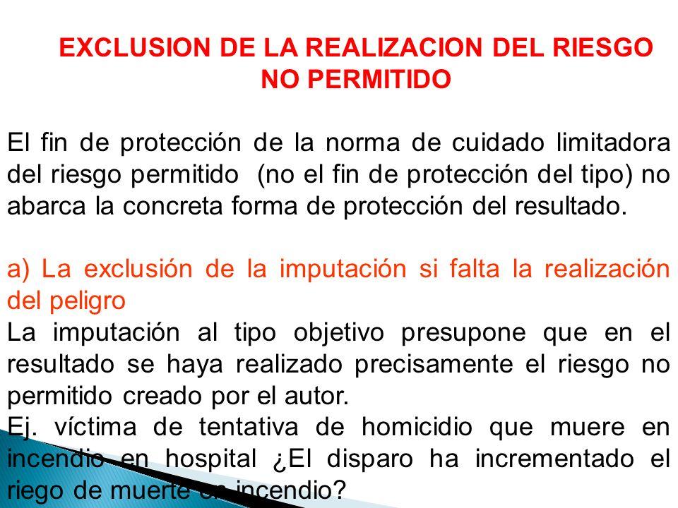 EXCLUSION DE LA REALIZACION DEL RIESGO NO PERMITIDO