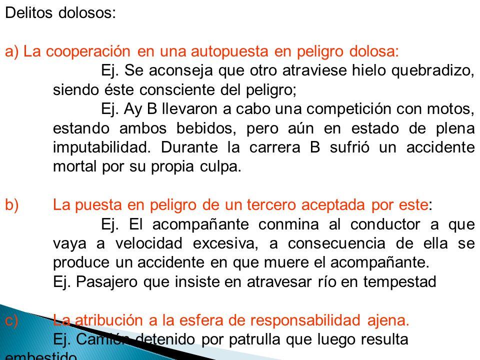 Delitos dolosos: a) La cooperación en una autopuesta en peligro dolosa: