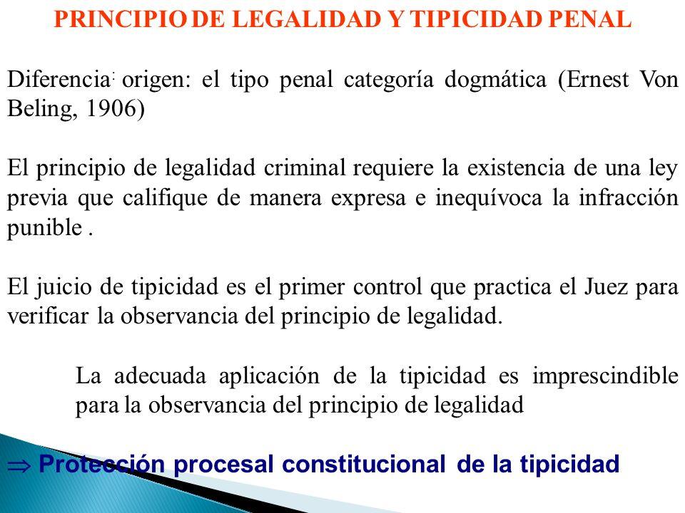 PRINCIPIO DE LEGALIDAD Y TIPICIDAD PENAL