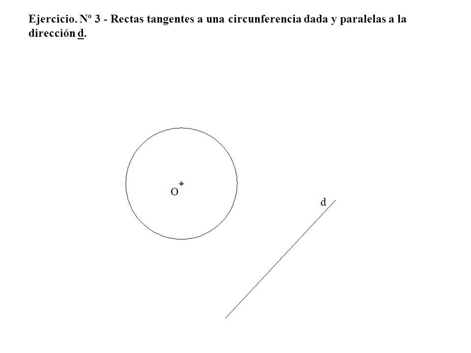 Ejercicio. Nº 3 - Rectas tangentes a una circunferencia dada y paralelas a la dirección d.