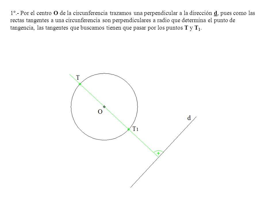 1º.- Por el centro O de la circunferencia trazamos una perpendicular a la dirección d, pues como las rectas tangentes a una circunferencia son perpendiculares a radio que determina el punto de tangencia, las tangentes que buscamos tienen que pasar por los puntos T y T1.