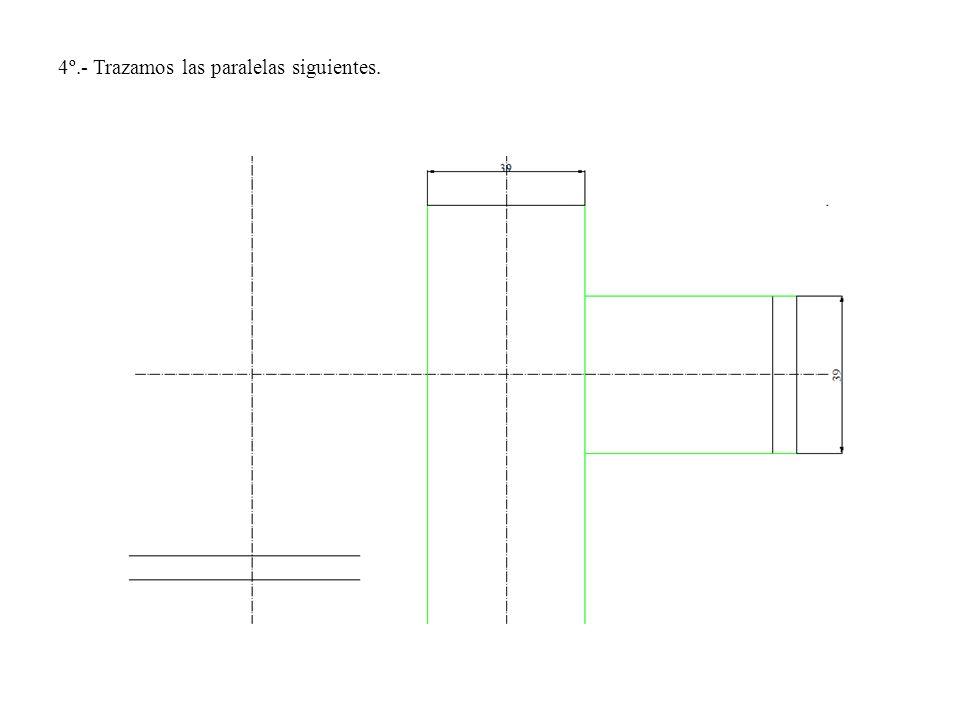 4º.- Trazamos las paralelas siguientes.