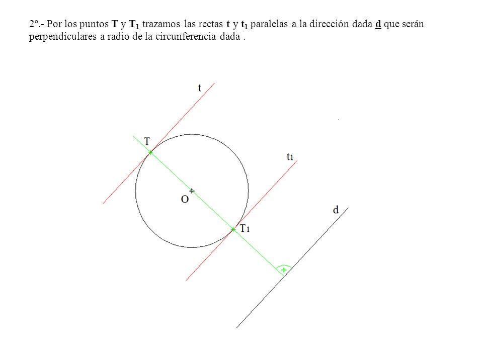 2º.- Por los puntos T y T1 trazamos las rectas t y t1 paralelas a la dirección dada d que serán perpendiculares a radio de la circunferencia dada .