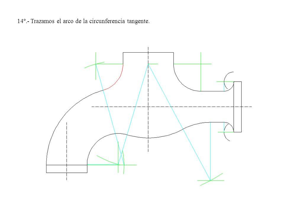 14º.- Trazamos el arco de la circunferencia tangente.