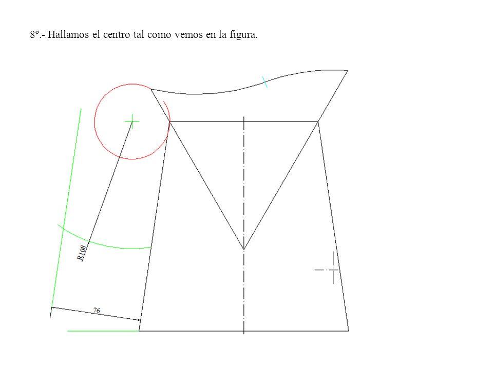 8º.- Hallamos el centro tal como vemos en la figura.
