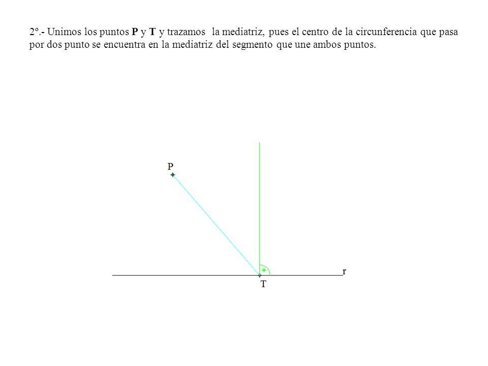 2º.- Unimos los puntos P y T y trazamos la mediatriz, pues el centro de la circunferencia que pasa por dos punto se encuentra en la mediatriz del segmento que une ambos puntos.