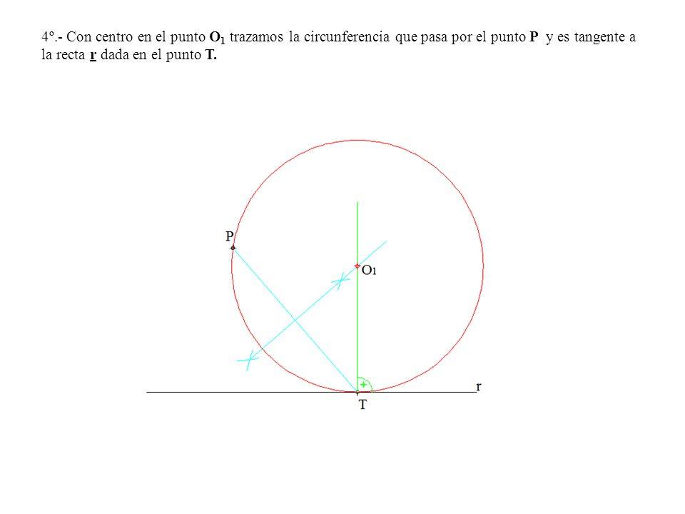 4º.- Con centro en el punto O1 trazamos la circunferencia que pasa por el punto P y es tangente a la recta r dada en el punto T.