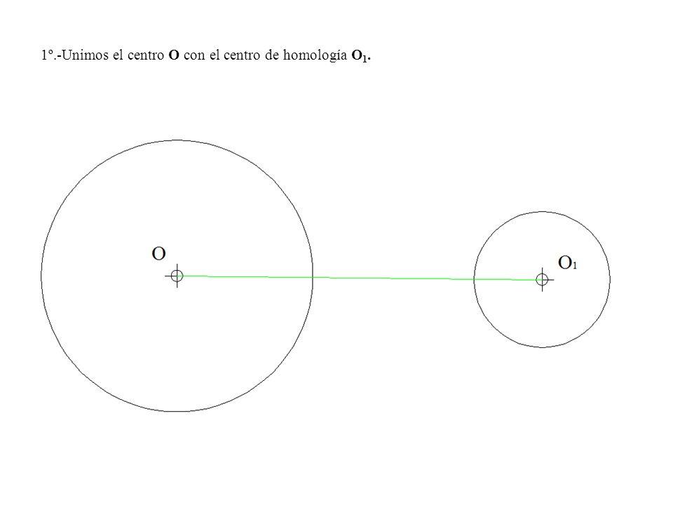 1º.-Unimos el centro O con el centro de homología O1.