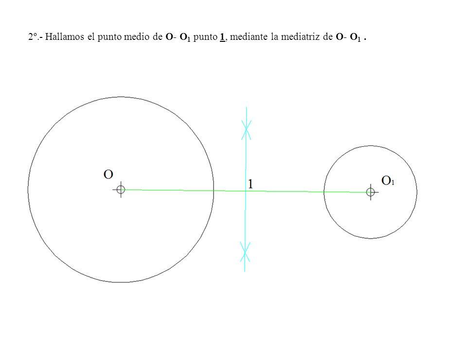 2º.- Hallamos el punto medio de O- O1 punto 1, mediante la mediatriz de O- O1 .