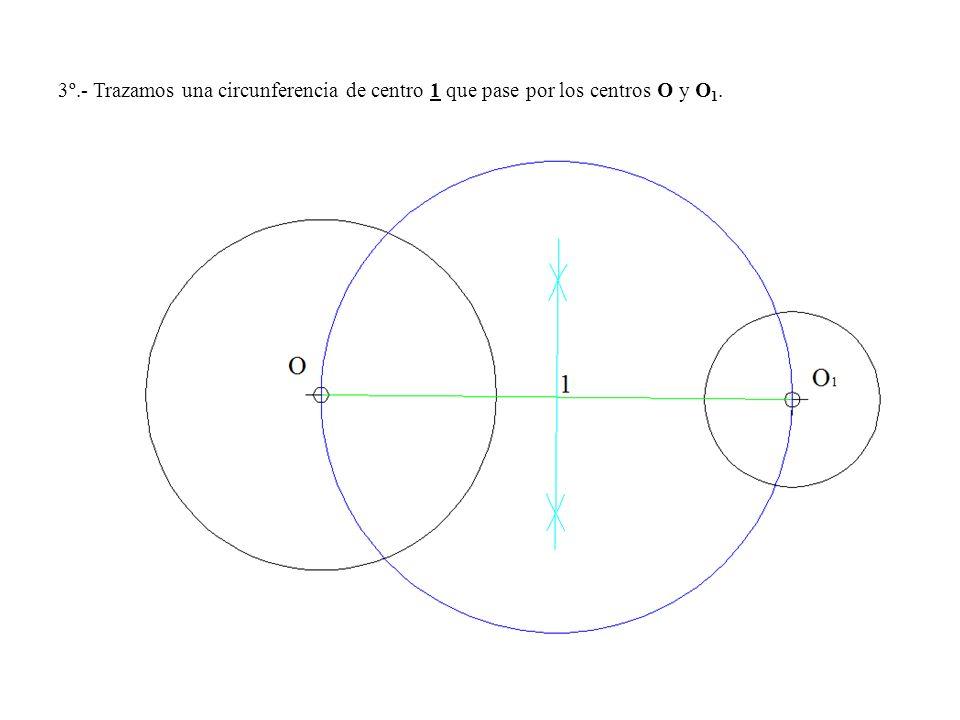 3º.- Trazamos una circunferencia de centro 1 que pase por los centros O y O1.