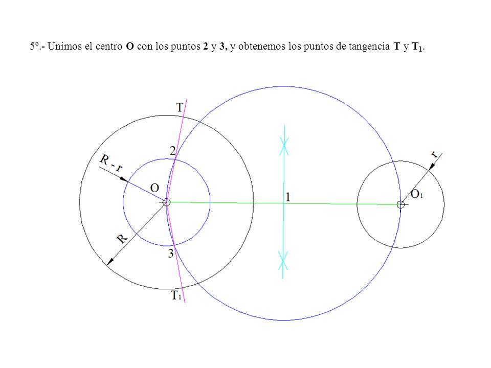 5º.- Unimos el centro O con los puntos 2 y 3, y obtenemos los puntos de tangencia T y T1.