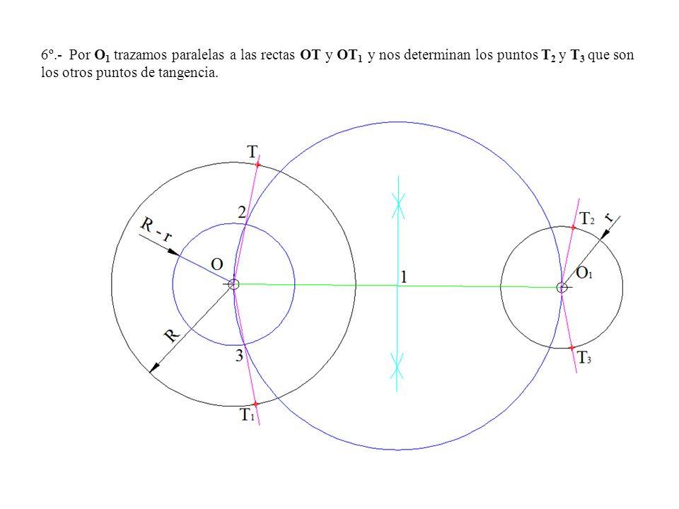 6º.- Por O1 trazamos paralelas a las rectas OT y OT1 y nos determinan los puntos T2 y T3 que son los otros puntos de tangencia.