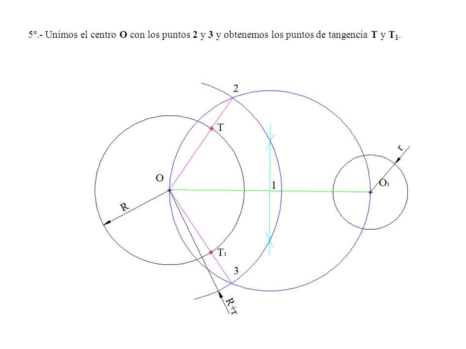 5º.- Unimos el centro O con los puntos 2 y 3 y obtenemos los puntos de tangencia T y T1.